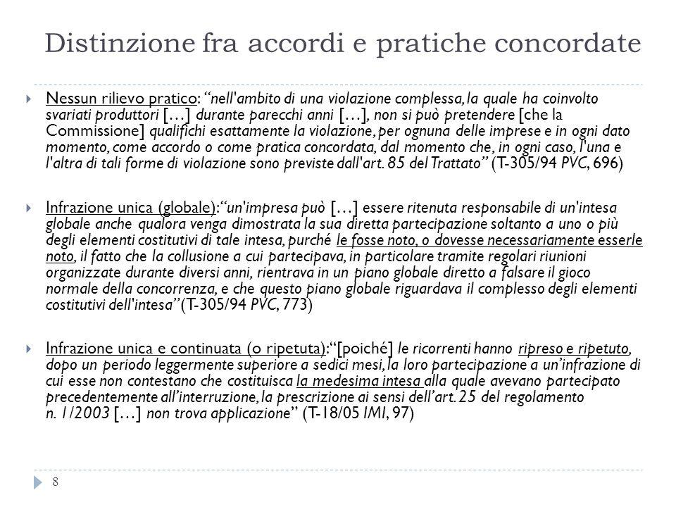Distinzione fra accordi e pratiche concordate 8 Nessun rilievo pratico: nell'ambito di una violazione complessa, la quale ha coinvolto svariati produt