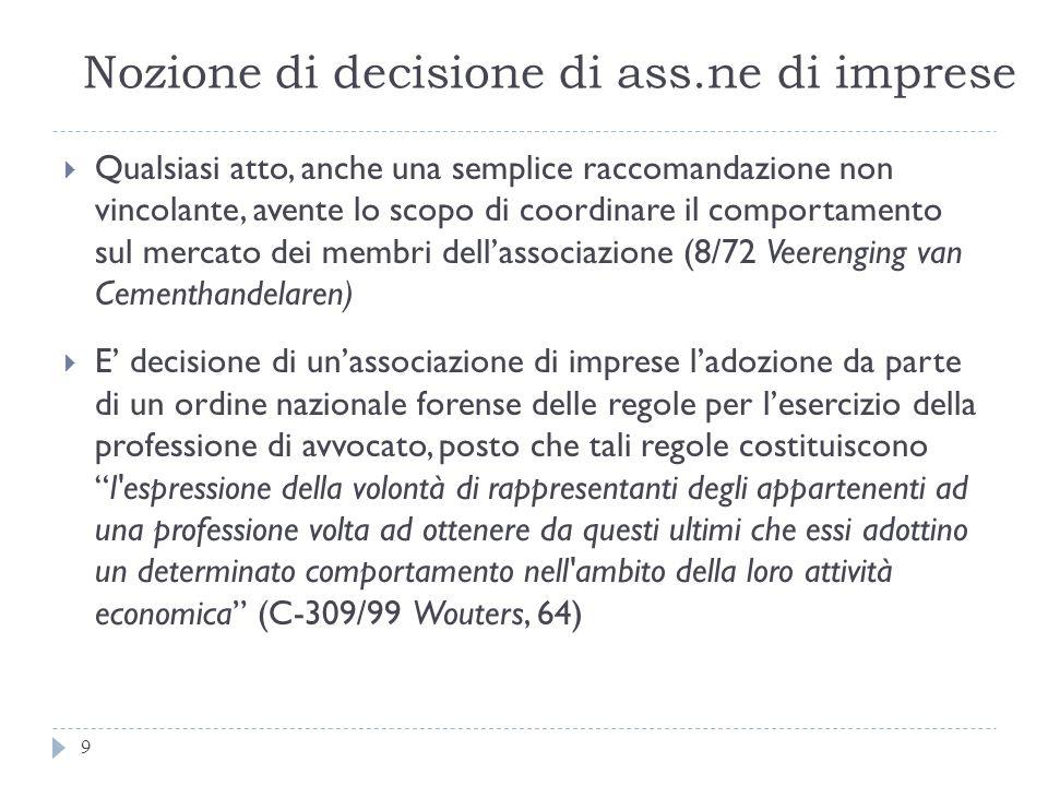 Nozione di decisione di ass.ne di imprese 9 Qualsiasi atto, anche una semplice raccomandazione non vincolante, avente lo scopo di coordinare il compor