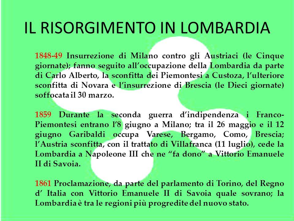 IL RISORGIMENTO IN LOMBARDIA 1848-49 Insurrezione di Milano contro gli Austriaci (le Cinque giornate); fanno seguito alloccupazione della Lombardia da
