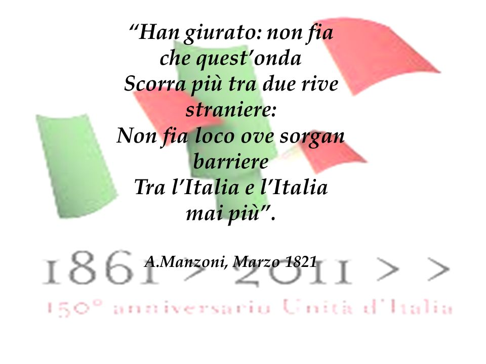 è il periodo storico in cui l Italia ha riacquistato lindipendenza e ha realizzato la sua unità nazionale.