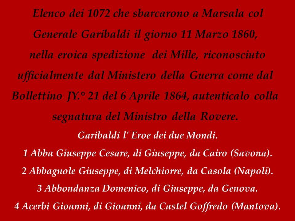 Elenco dei 1072 che sbarcarono a Marsala col Generale Garibaldi il giorno 11 Marzo 1860, nella eroica spedizione dei Mille, riconosciuto ufficialmente