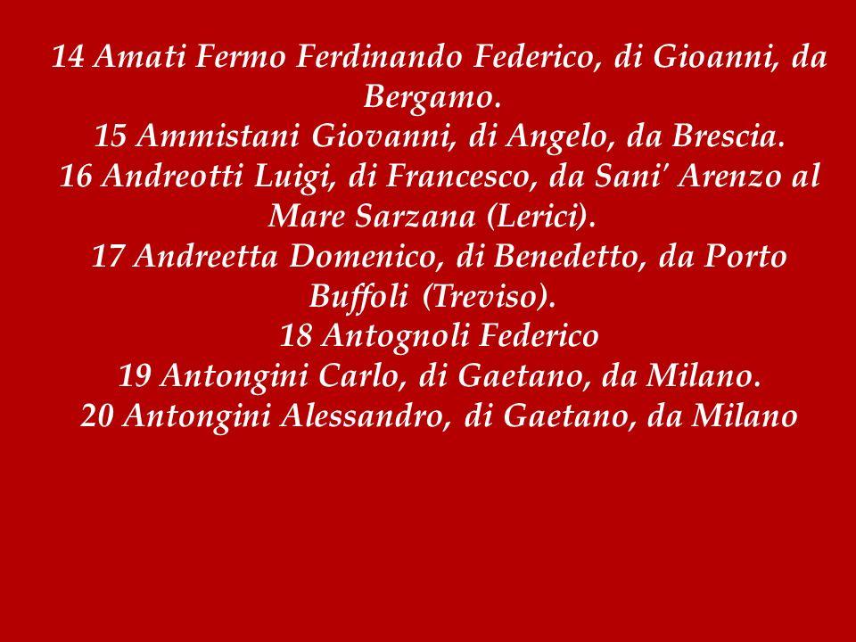 14 Amati Fermo Ferdinando Federico, di Gioanni, da Bergamo. 15 Ammistani Giovanni, di Angelo, da Brescia. 16 Andreotti Luigi, di Francesco, da Sani' A