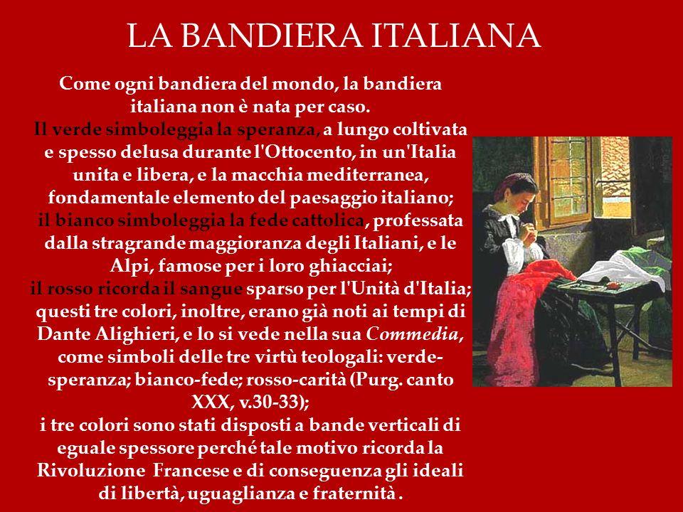 Come ogni bandiera del mondo, la bandiera italiana non è nata per caso. Il verde simboleggia la speranza, a lungo coltivata e spesso delusa durante l'