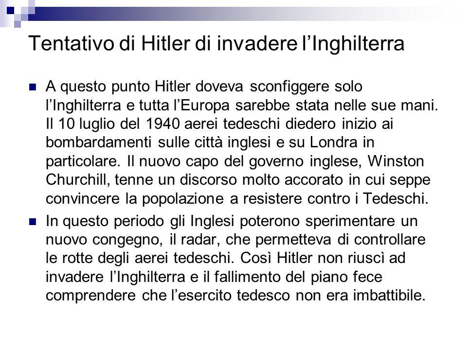 Tentativo di Hitler di invadere lInghilterra A questo punto Hitler doveva sconfiggere solo lInghilterra e tutta lEuropa sarebbe stata nelle sue mani.