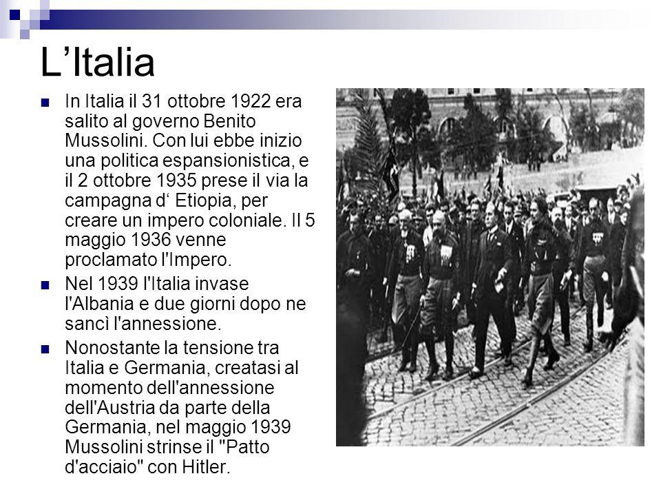 LItalia In Italia il 31 ottobre 1922 era salito al governo Benito Mussolini. Con lui ebbe inizio una politica espansionistica, e il 2 ottobre 1935 pre