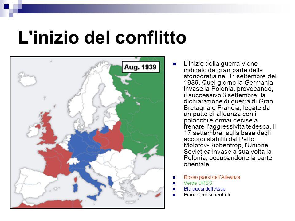 L'inizio del conflitto L'inizio della guerra viene indicato da gran parte della storiografia nel 1° settembre del 1939. Quel giorno la Germania invase