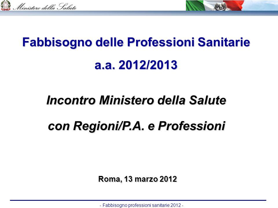 - Fabbisogno professioni sanitarie 2012 - Fabbisogno delle Professioni Sanitarie a.a. 2012/2013 Incontro Ministero della Salute con Regioni/P.A. e Pro