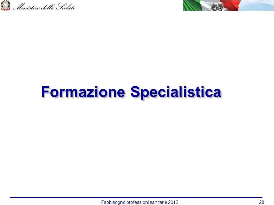 - Fabbisogno professioni sanitarie 2012 -28 Formazione Specialistica