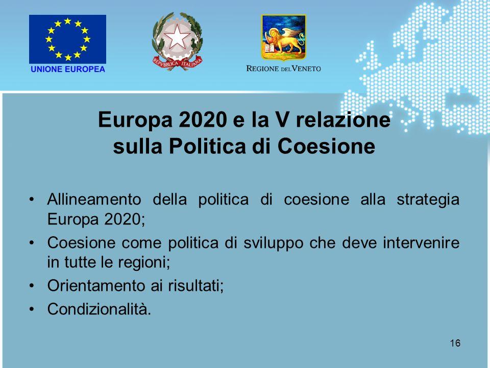 16 Allineamento della politica di coesione alla strategia Europa 2020; Coesione come politica di sviluppo che deve intervenire in tutte le regioni; Or