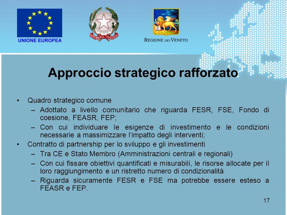 17 Quadro strategico comune –Adottato a livello comunitario che riguarda FESR, FSE, Fondo di coesione, FEASR, FEP; –Con cui individuare le esigenze di