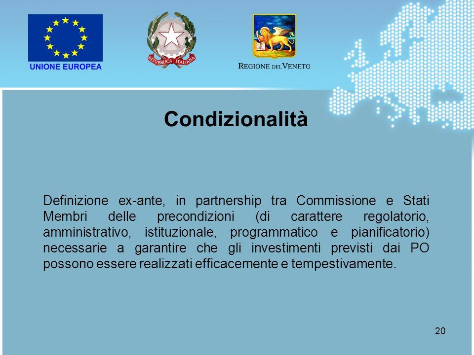 20 Definizione ex-ante, in partnership tra Commissione e Stati Membri delle precondizioni (di carattere regolatorio, amministrativo, istituzionale, pr