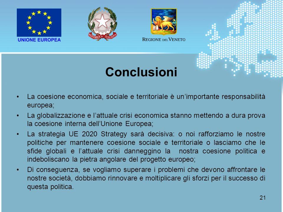 21 La coesione economica, sociale e territoriale è unimportante responsabilità europea; La globalizzazione e lattuale crisi economica stanno mettendo