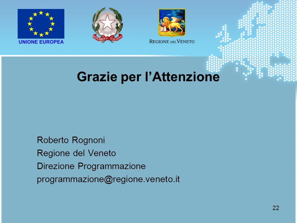22 Roberto Rognoni Regione del Veneto Direzione Programmazione programmazione@regione.veneto.it Grazie per lAttenzione