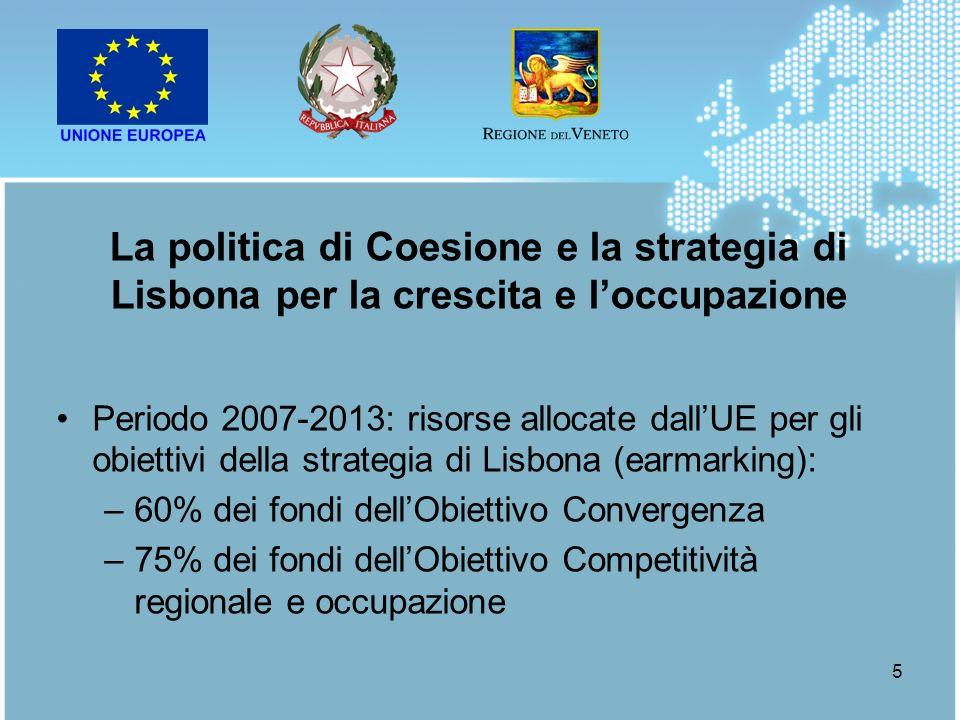 5 Periodo 2007-2013: risorse allocate dallUE per gli obiettivi della strategia di Lisbona (earmarking): –60% dei fondi dellObiettivo Convergenza –75%