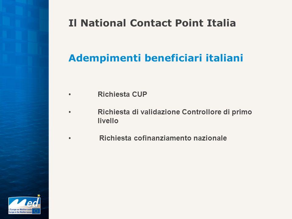 Il National Contact Point Italia Adempimenti beneficiari italiani Richiesta CUP Richiesta di validazione Controllore di primo livello Richiesta cofina