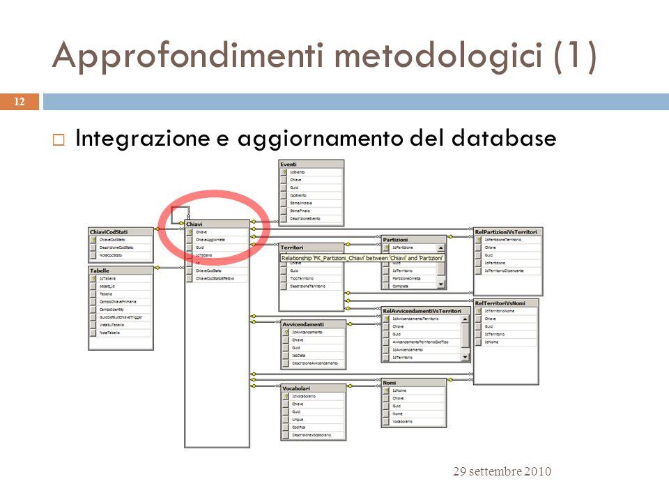 Approfondimenti metodologici (1) 29 settembre 2010 12 Integrazione e aggiornamento del database