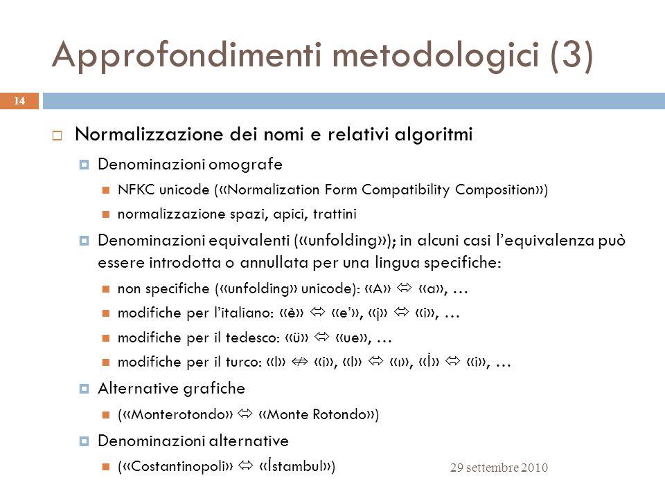 Approfondimenti metodologici (3) 29 settembre 2010 14 Normalizzazione dei nomi e relativi algoritmi Denominazioni omografe NFKC unicode («Normalizatio