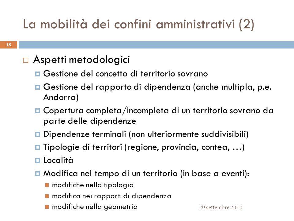 La mobilità dei confini amministrativi (2) 29 settembre 2010 18 Aspetti metodologici Gestione del concetto di territorio sovrano Gestione del rapporto