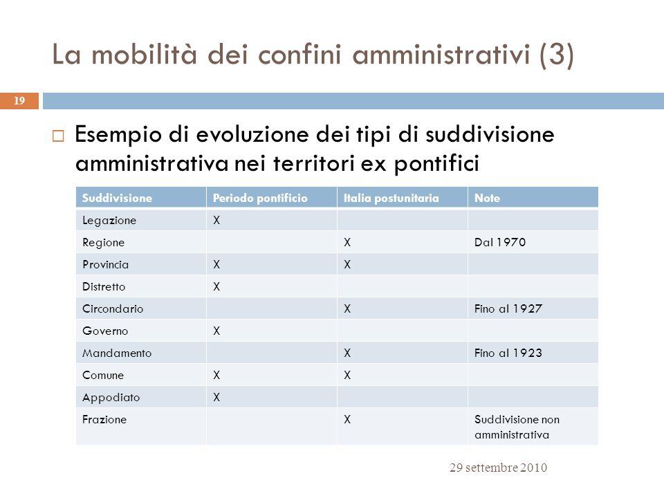 La mobilità dei confini amministrativi (3) 29 settembre 2010 19 Esempio di evoluzione dei tipi di suddivisione amministrativa nei territori ex pontifi