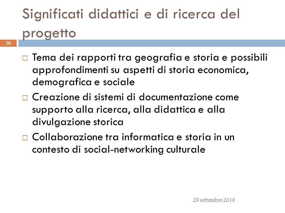 Significati didattici e di ricerca del progetto 29 settembre 2010 20 Tema dei rapporti tra geografia e storia e possibili approfondimenti su aspetti d
