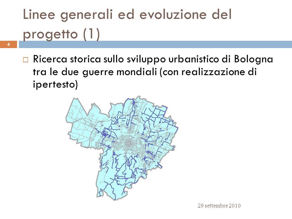 Linee generali ed evoluzione del progetto (1) 29 settembre 2010 4 Ricerca storica sullo sviluppo urbanistico di Bologna tra le due guerre mondiali (co