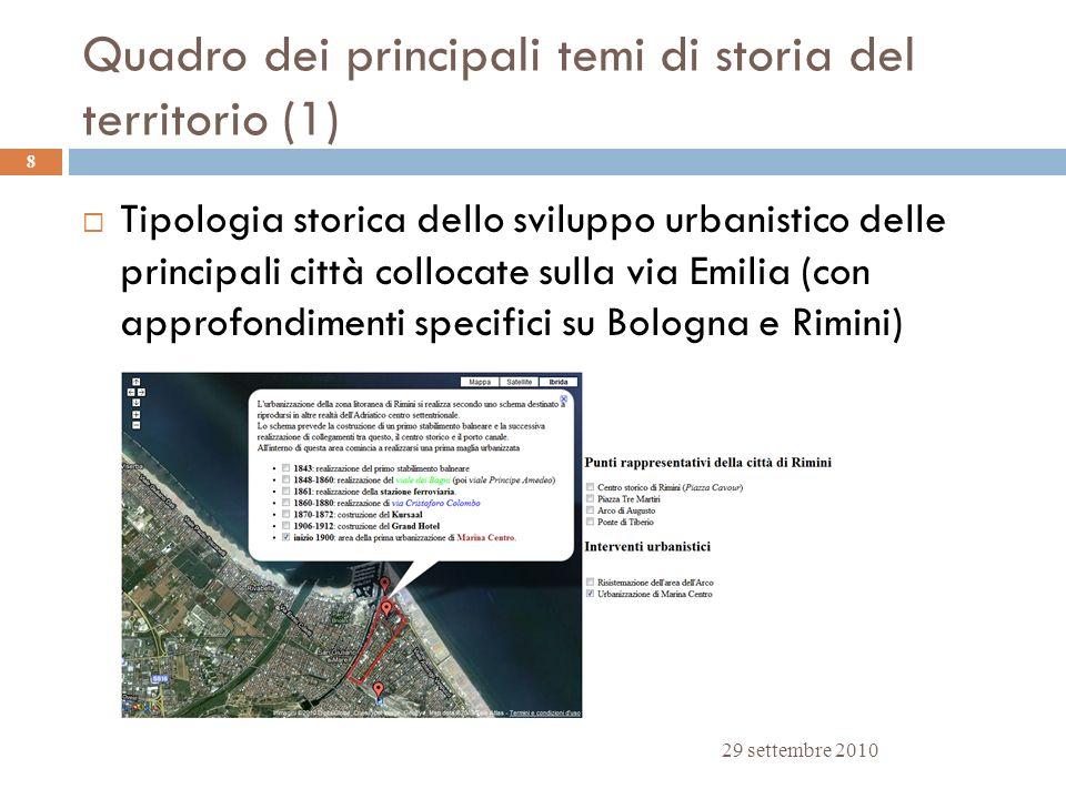 Quadro dei principali temi di storia del territorio (1) 29 settembre 2010 8 Tipologia storica dello sviluppo urbanistico delle principali città colloc