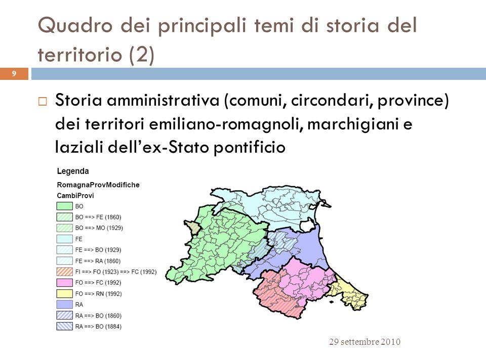Quadro dei principali temi di storia del territorio (2) 29 settembre 2010 9 Storia amministrativa (comuni, circondari, province) dei territori emilian