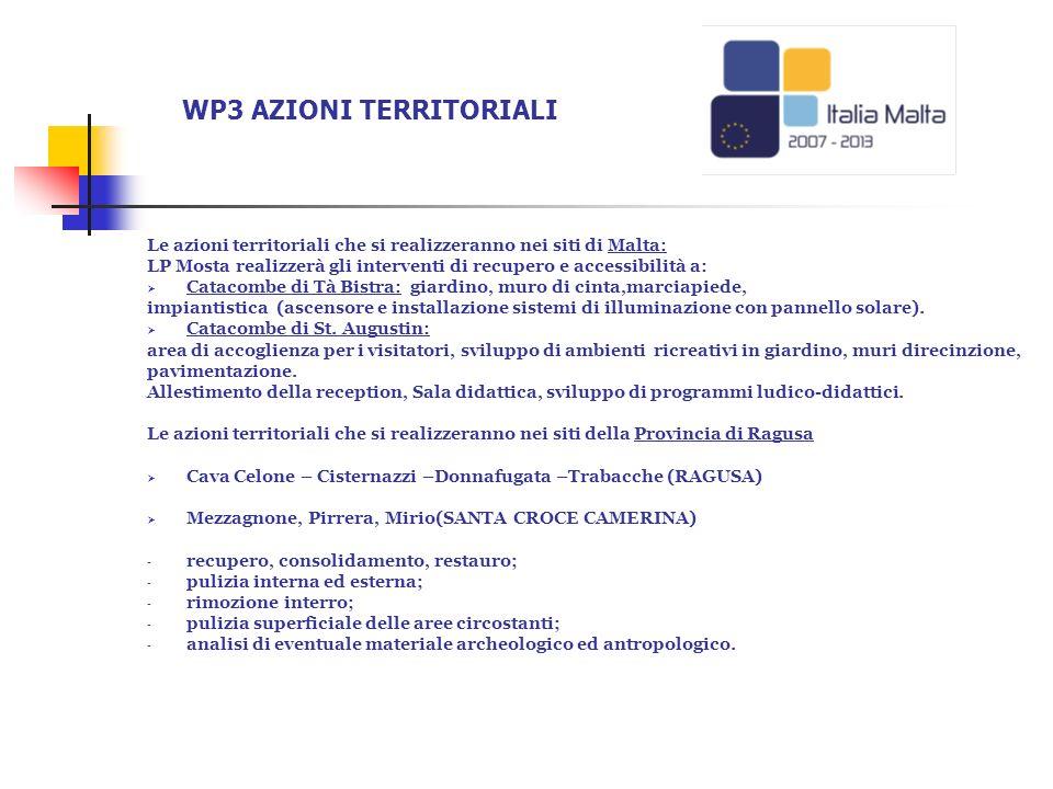 Le azioni territoriali che si realizzeranno nei siti di Malta: LP Mosta realizzerà gli interventi di recupero e accessibilità a: Catacombe di Tà Bistr