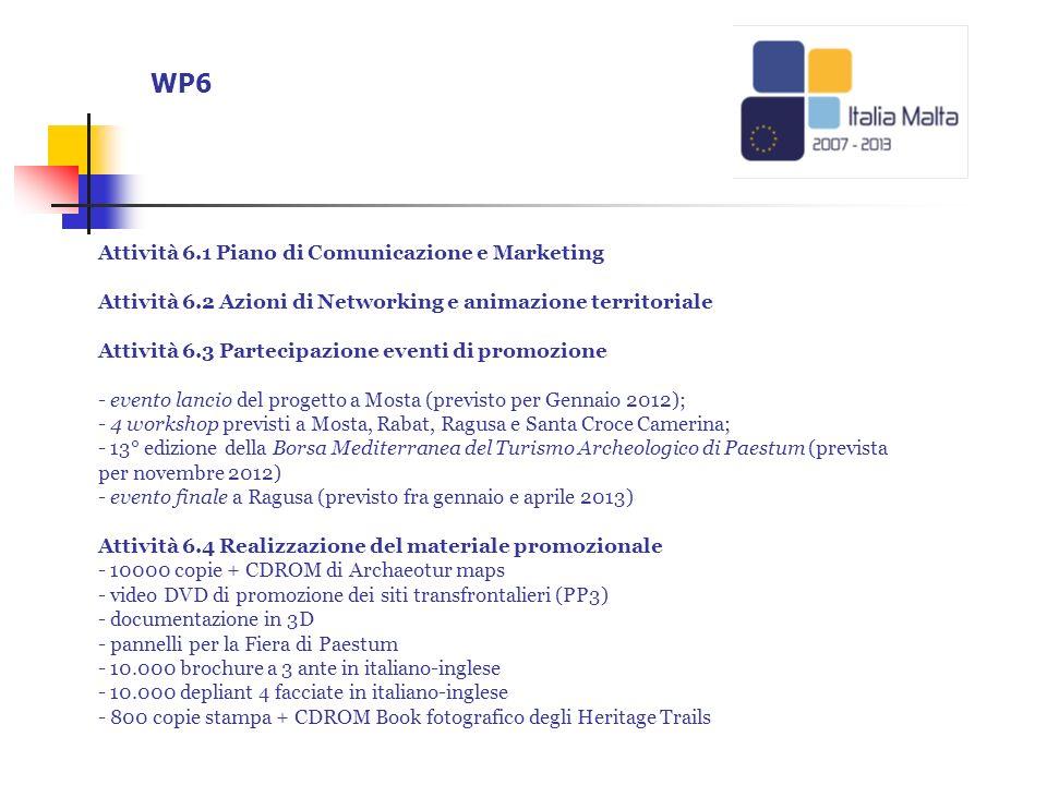 WP6 Attività 6.1 Piano di Comunicazione e Marketing Attività 6.2 Azioni di Networking e animazione territoriale Attività 6.3 Partecipazione eventi di