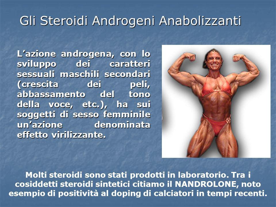 Gli Steroidi Androgeni Anabolizzanti Lazione androgena, con lo sviluppo dei caratteri sessuali maschili secondari (crescita dei peli, abbassamento del