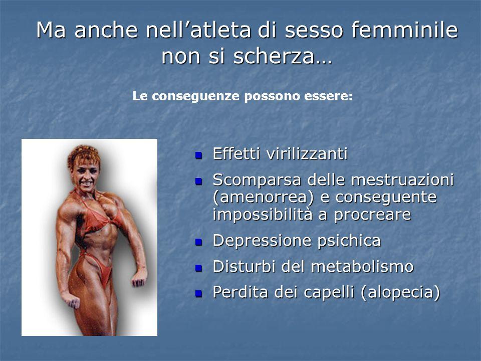 Effetti virilizzanti Effetti virilizzanti Scomparsa delle mestruazioni (amenorrea) e conseguente impossibilità a procreare Scomparsa delle mestruazion