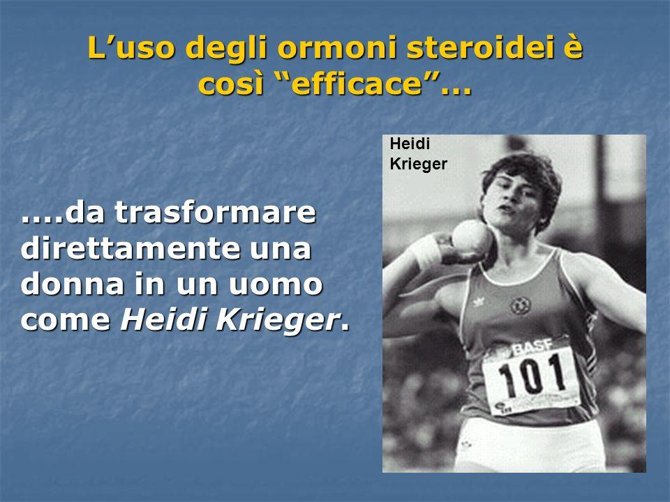 Luso degli ormoni steroidei è così efficace.......da trasformare direttamente una donna in un uomo come Heidi Krieger. Heidi Krieger