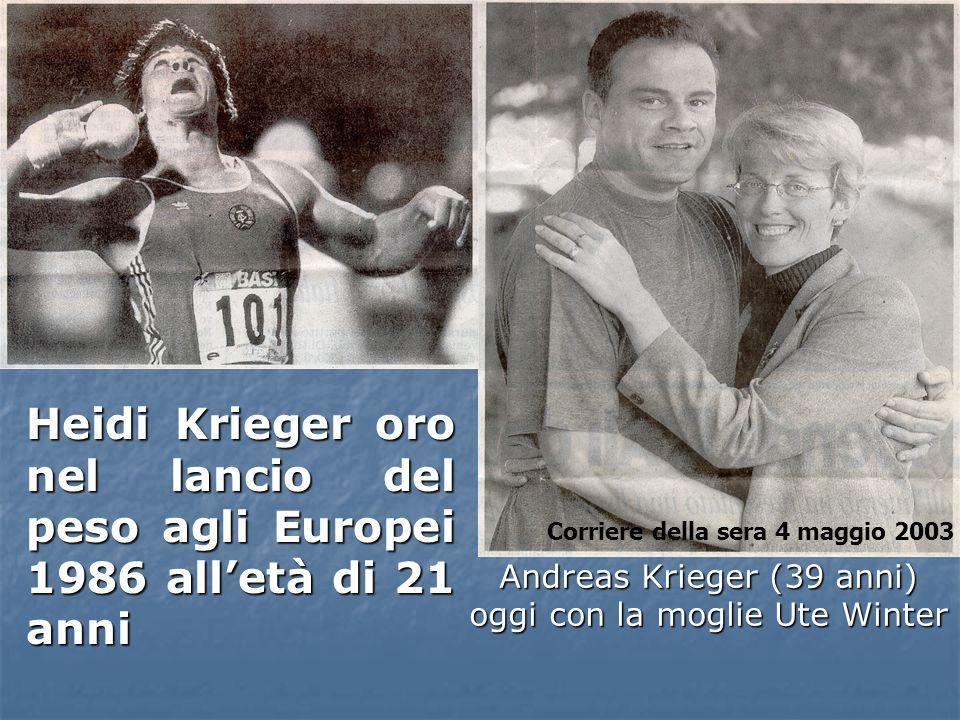 Andreas Krieger (39 anni) oggi con la moglie Ute Winter Heidi Krieger oro nel lancio del peso agli Europei 1986 alletà di 21 anni Corriere della sera