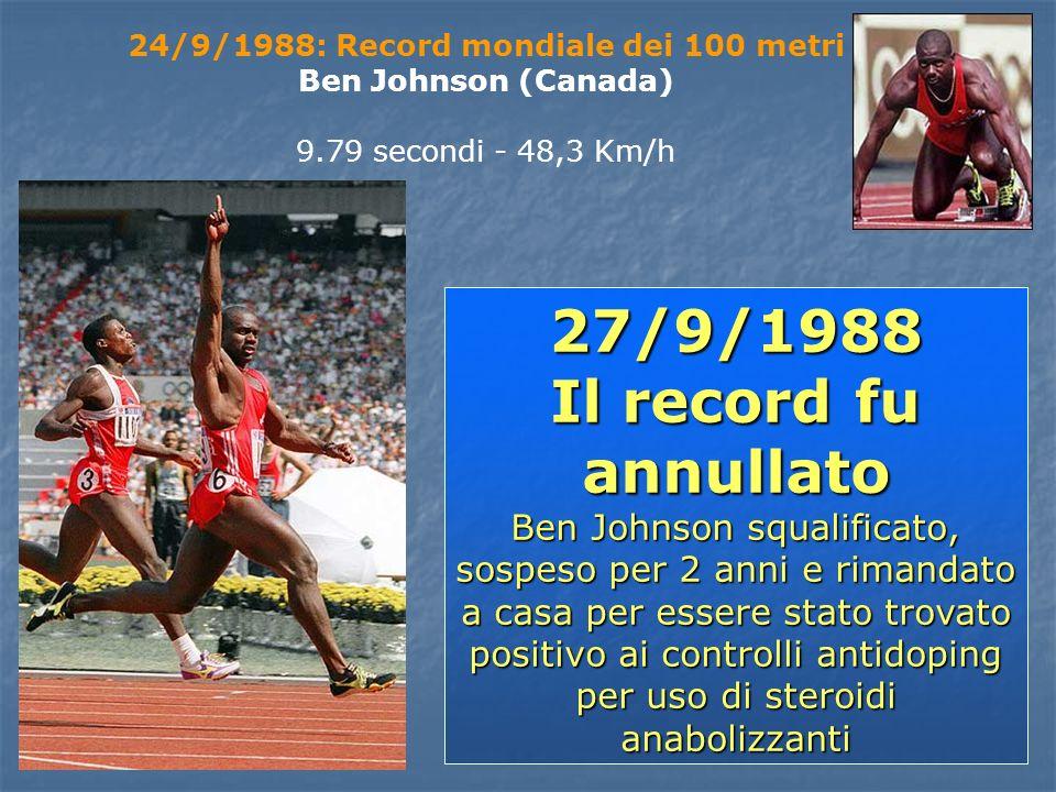 24/9/1988: Record mondiale dei 100 metri Ben Johnson (Canada) 9.79 secondi - 48,3 Km/h 27/9/1988 Il record fu annullato Ben Johnson squalificato, sosp