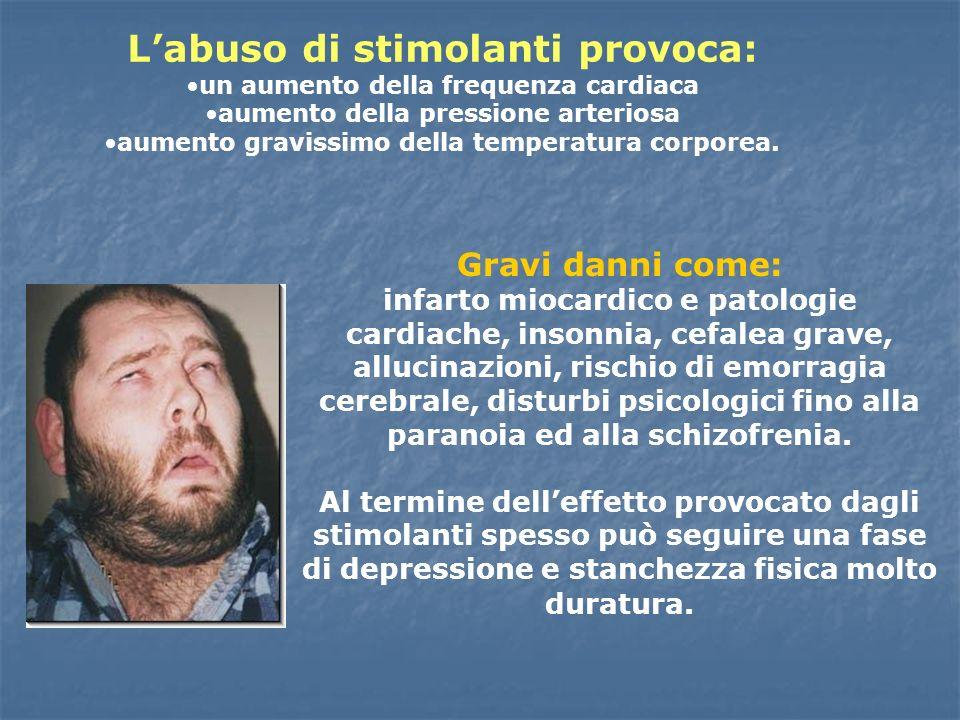 Labuso di stimolanti provoca: un aumento della frequenza cardiaca aumento della pressione arteriosa aumento gravissimo della temperatura corporea. Gra