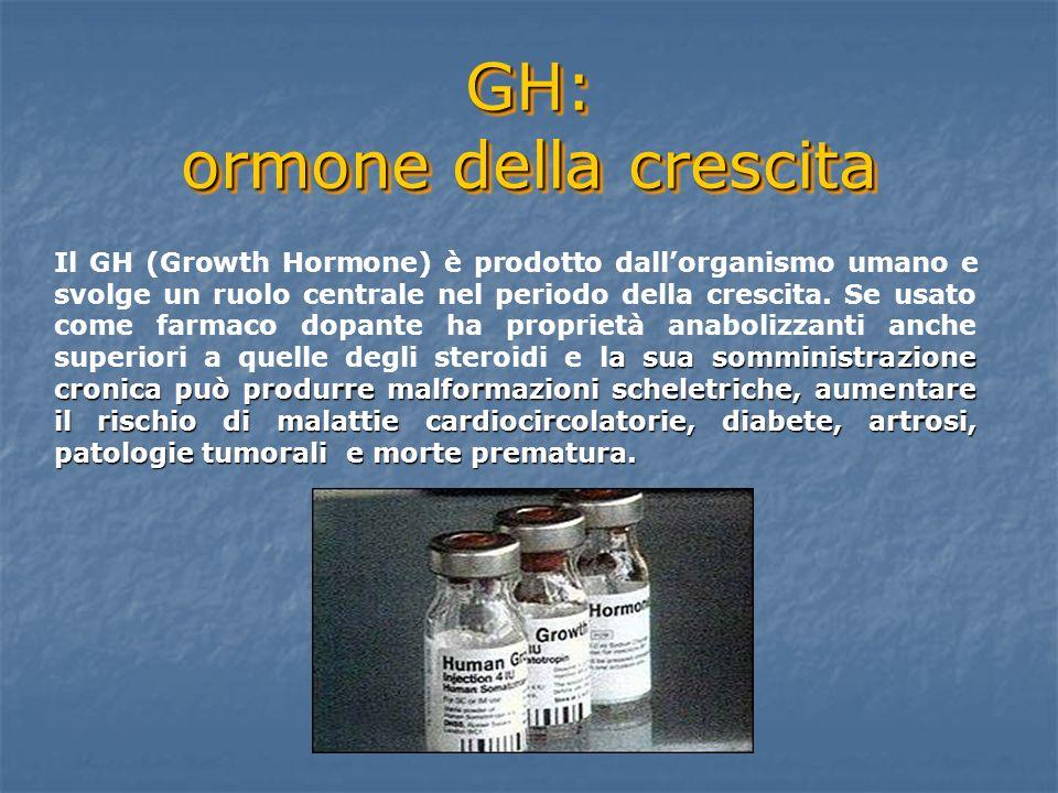 GH: ormone della crescita a sua somministrazione cronica può produrre malformazioni scheletriche, aumentare il rischio di malattie cardiocircolatorie,