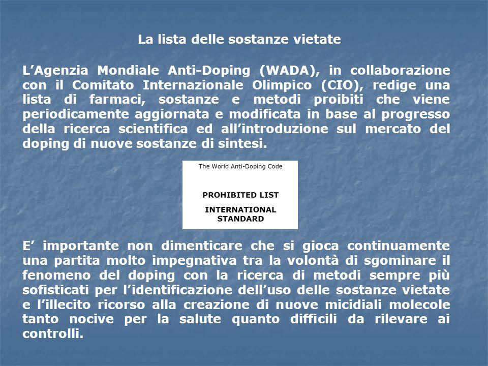La lista delle sostanze vietate LAgenzia Mondiale Anti-Doping (WADA), in collaborazione con il Comitato Internazionale Olimpico (CIO), redige una list