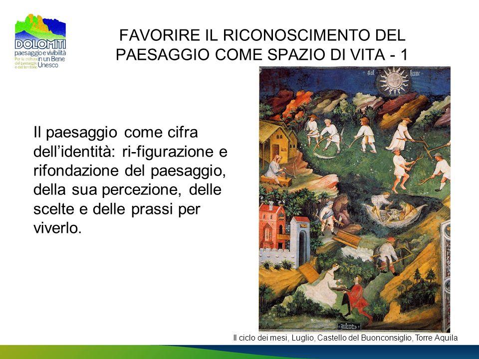 FAVORIRE IL RICONOSCIMENTO DEL PAESAGGIO COME SPAZIO DI VITA - 1 Il paesaggio come cifra dellidentità: ri-figurazione e rifondazione del paesaggio, de
