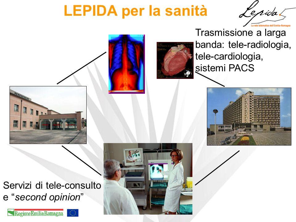 LEPIDA per la sanità Trasmissione a larga banda: tele-radiologia, tele-cardiologia, sistemi PACS Servizi di tele-consulto e second opinion