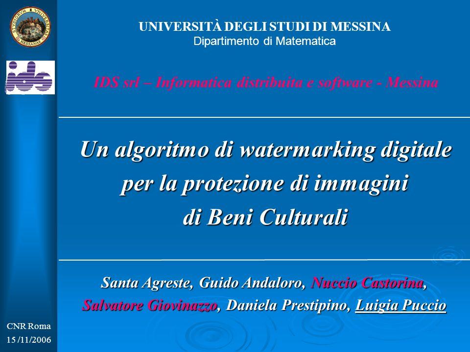 Un algoritmo di watermarking digitale per la protezione di immagini di Beni Culturali CNR Roma 15 /11/2006 IDS srl – Informatica distribuita e softwar
