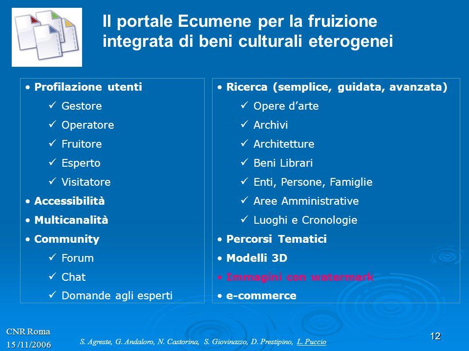 12 CNR Roma 15 /11/2006 Il portale Ecumene per la fruizione integrata di beni culturali eterogenei Profilazione utenti Gestore Operatore Fruitore Espe