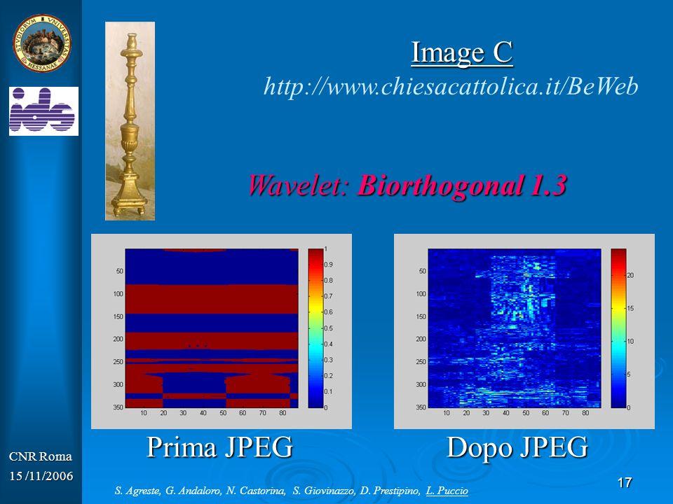 17 CNR Roma 15 /11/2006 Wavelet: Biorthogonal 1.3 http://www.chiesacattolica.it/BeWeb Image C Prima JPEG Dopo JPEG S. Agreste, G. Andaloro, N. Castori