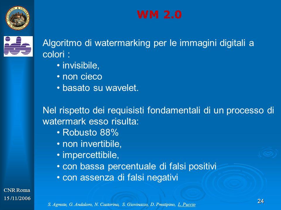 24 Algoritmo di watermarking per le immagini digitali a colori : invisibile, non cieco basato su wavelet. Nel rispetto dei requisisti fondamentali di