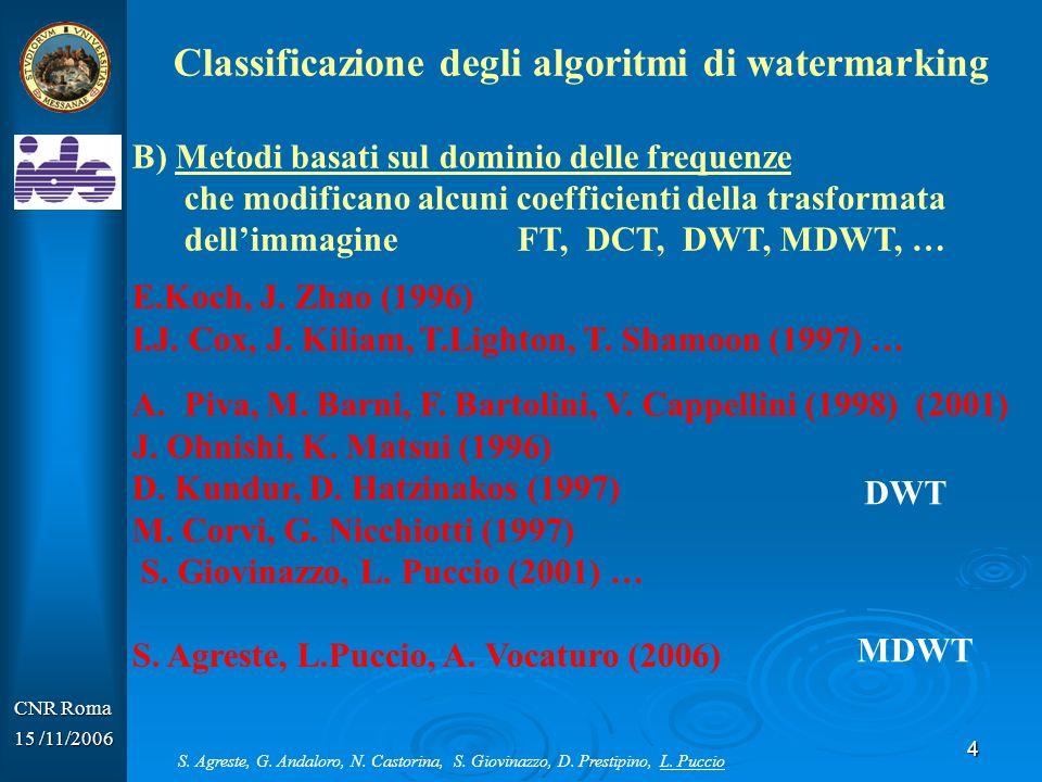 4 CNR Roma 15 /11/2006 Classificazione degli algoritmi di watermarking B) Metodi basati sul dominio delle frequenze che modificano alcuni coefficienti