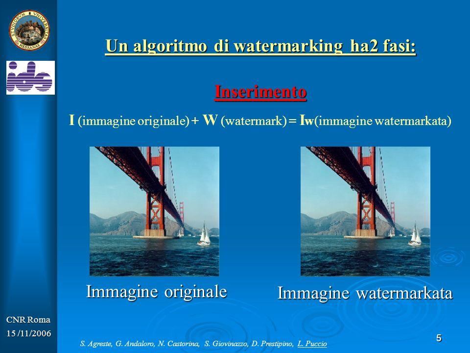 5 CNR Roma 15 /11/2006 Un algoritmo di watermarking ha2 fasi: Inserimento I (immagine originale) + W (watermark) = I w(immagine watermarkata) Immagine