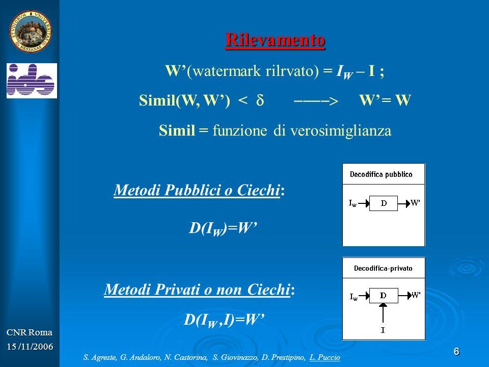6 CNR Roma 15 /11/2006 Rilevamento W(watermark rilrvato) = I W – I ; Simil(W, W) < W = W Simil = funzione di verosimiglianza Metodi Privati o non Ciec
