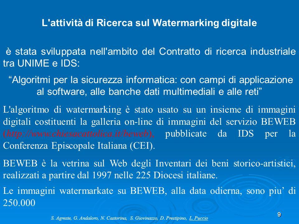 9 L'attività di Ricerca sul Watermarking digitale è stata sviluppata nell'ambito del Contratto di ricerca industriale tra UNIME e IDS: Algoritmi per l