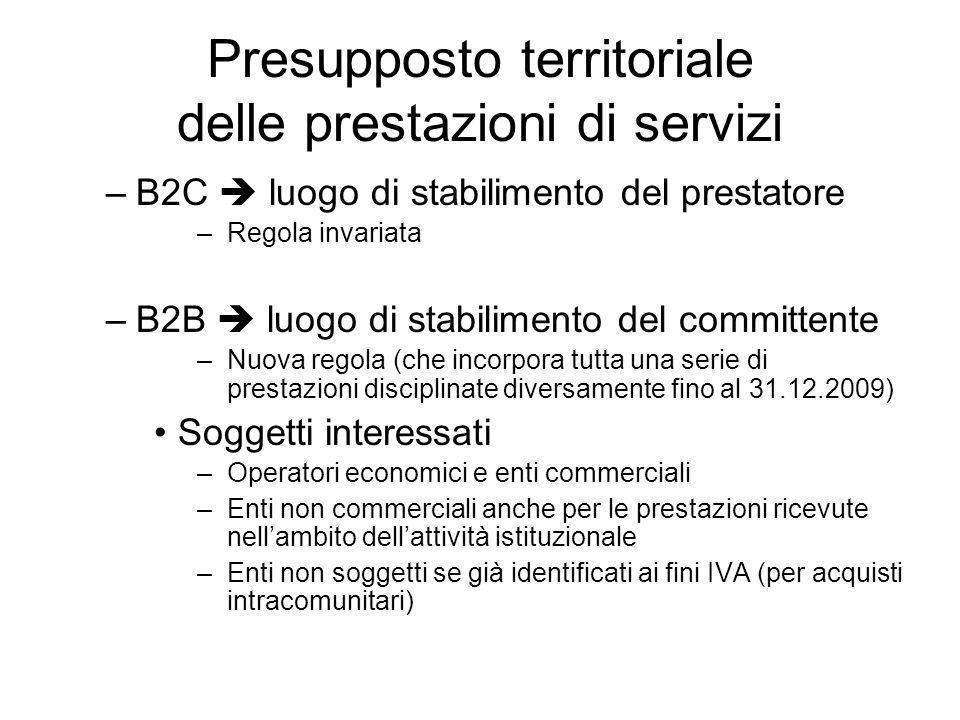 Presupposto territoriale delle prestazioni di servizi –B2C luogo di stabilimento del prestatore –Regola invariata –B2B luogo di stabilimento del commi