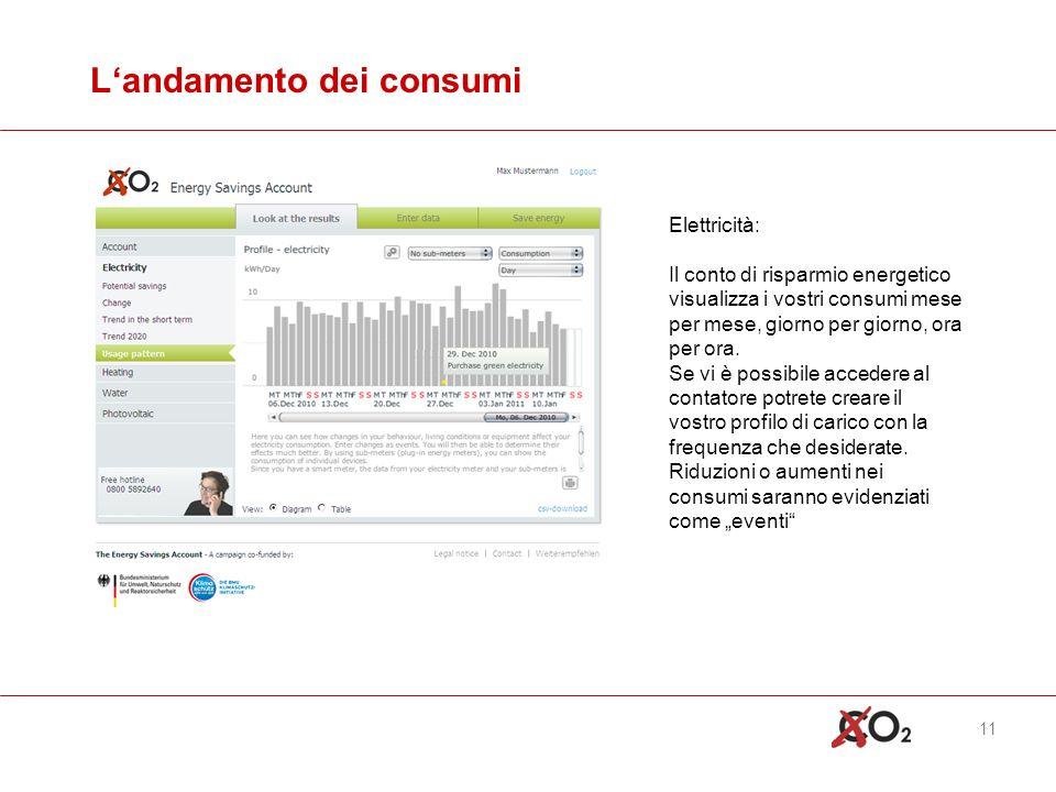 11 Landamento dei consumi Elettricità: Il conto di risparmio energetico visualizza i vostri consumi mese per mese, giorno per giorno, ora per ora.