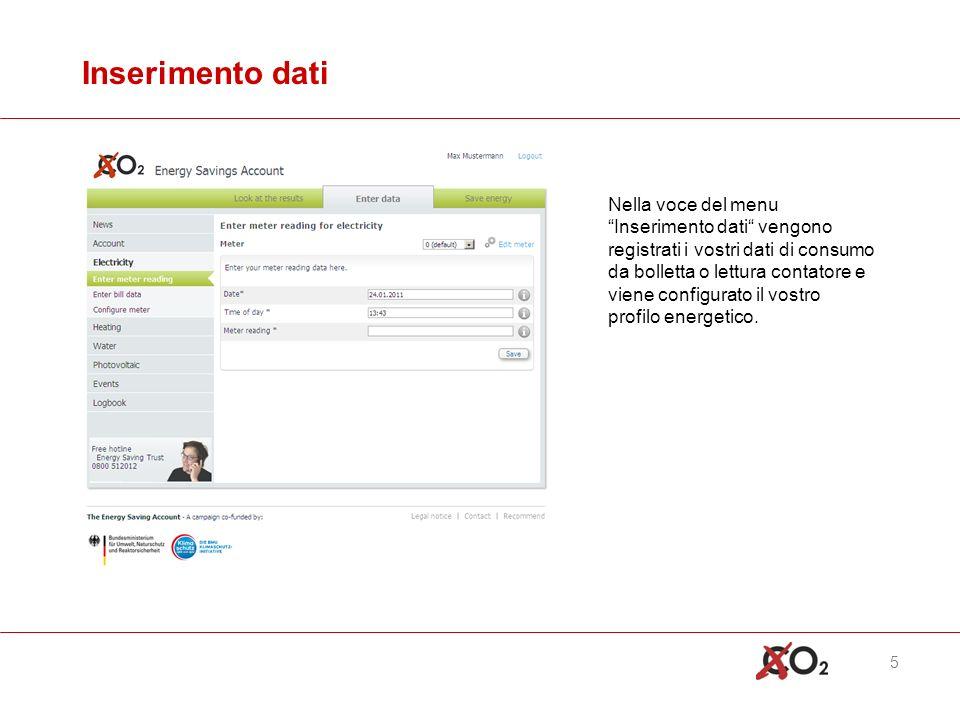 5 Inserimento dati Nella voce del menuInserimento dati vengono registrati i vostri dati di consumo da bolletta o lettura contatore e viene configurato il vostro profilo energetico.